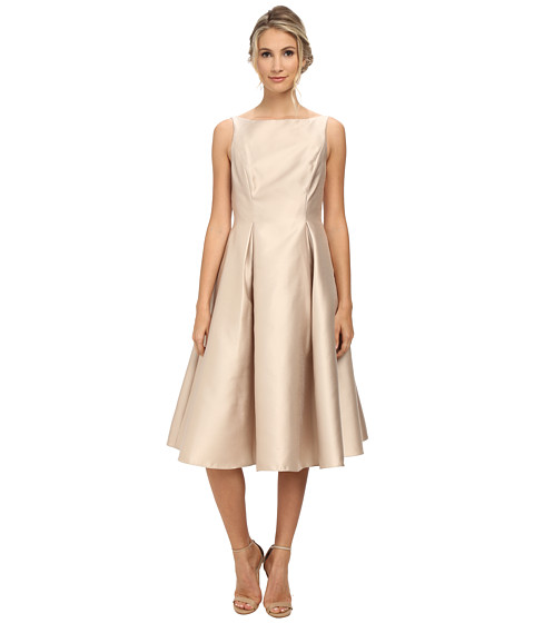 Adrianna Papell - Sleeveless Tea Length Dress (Champagne) Women