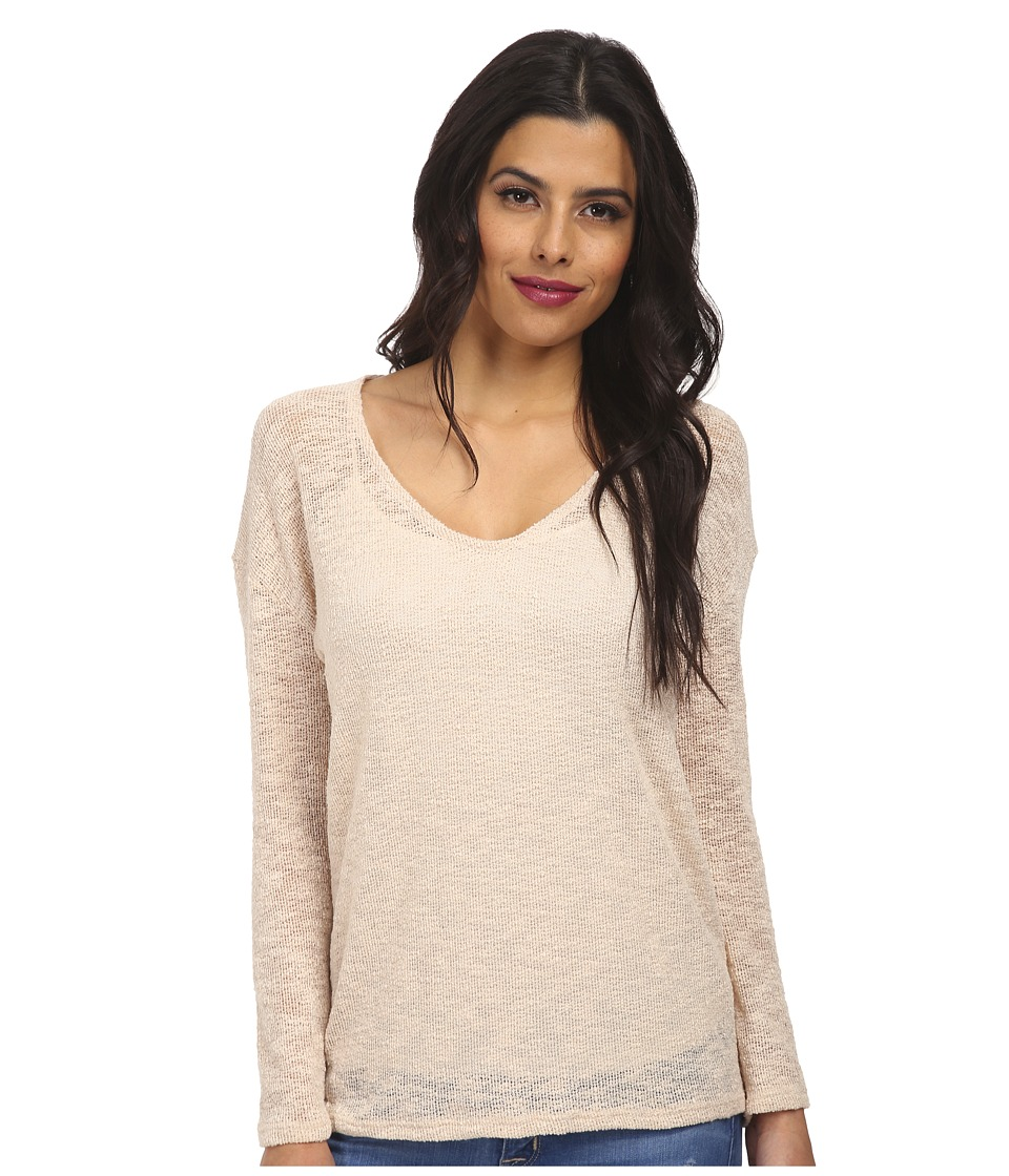 Culture Phit - Laurel V-Neck Long Sleeve Top (Tan) Women's Sweater