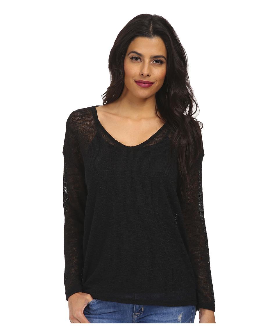 Culture Phit - Laurel V-Neck Long Sleeve Top (Black) Women