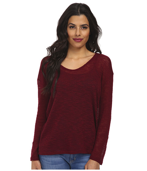 Culture Phit - Laurel V-Neck Long Sleeve Top (Burgundy) Women