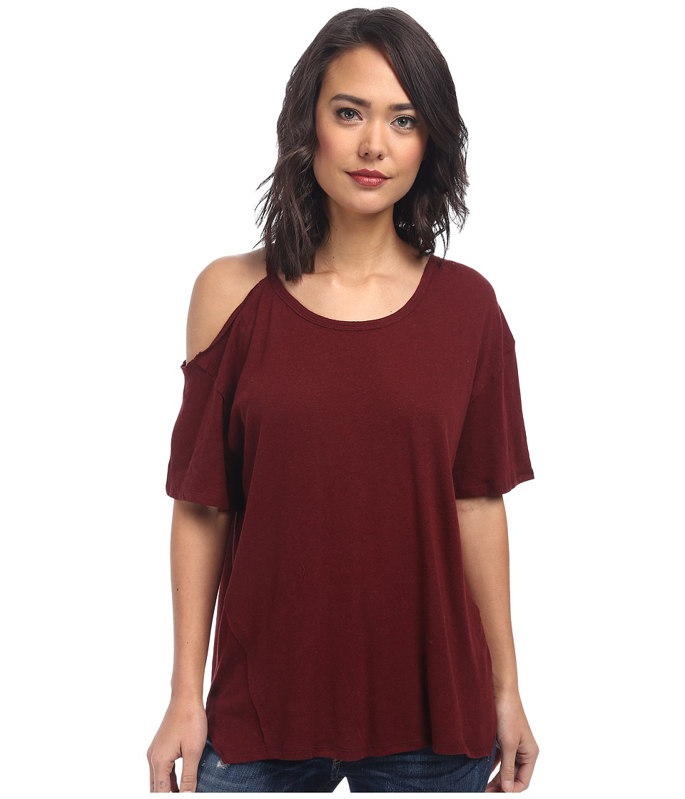 Free People - Cotton Linen Rib After Party Tee (Bordeaux) Women's T Shirt