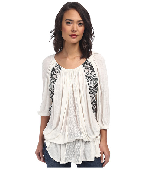 Free People - New World Jersy Butterfly Tunic (Ivory) Women's Blouse