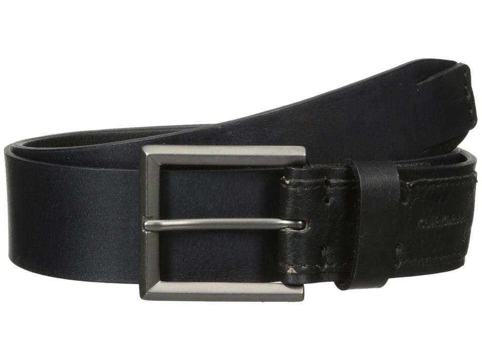 Calvin Klein - 38mm Flat Strap Smooth Matte Leather/Harness Buckle (Black) Men's Belts