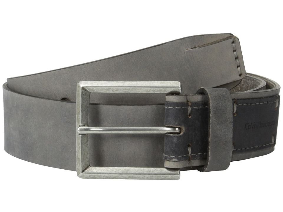 Calvin Klein - 38mm Flat Strap Smooth Matte Leather/Harness Buckle (Grey Smoke) Men's Belts