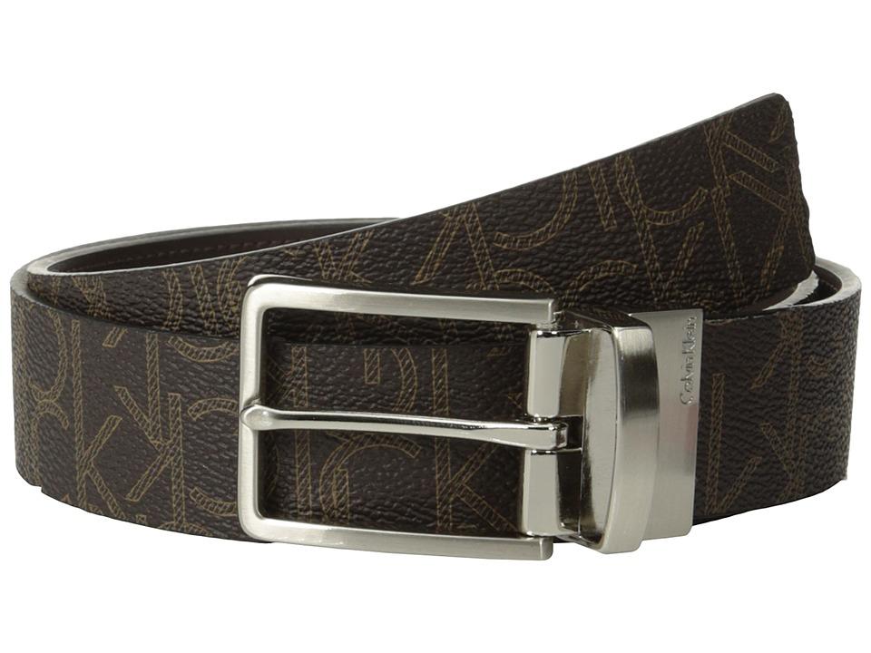 Calvin Klein - 35mm Reversible Flat Strap CK Logo To Smooth Harness (Brown/Brown) Men's Belts