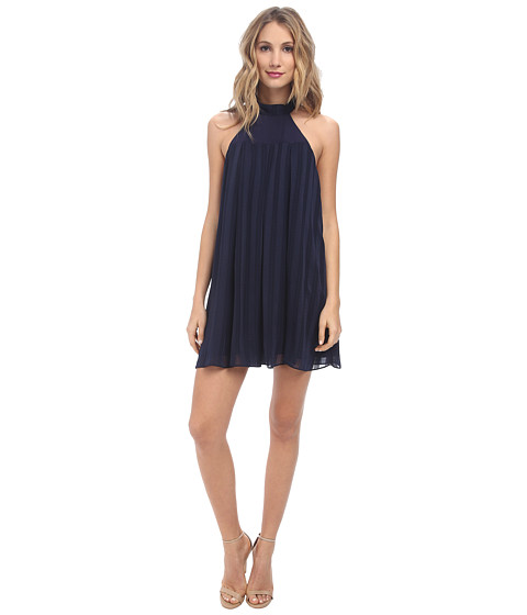 BCBGeneration - High Neck Dress with Pleats (Navy) Women's Dress
