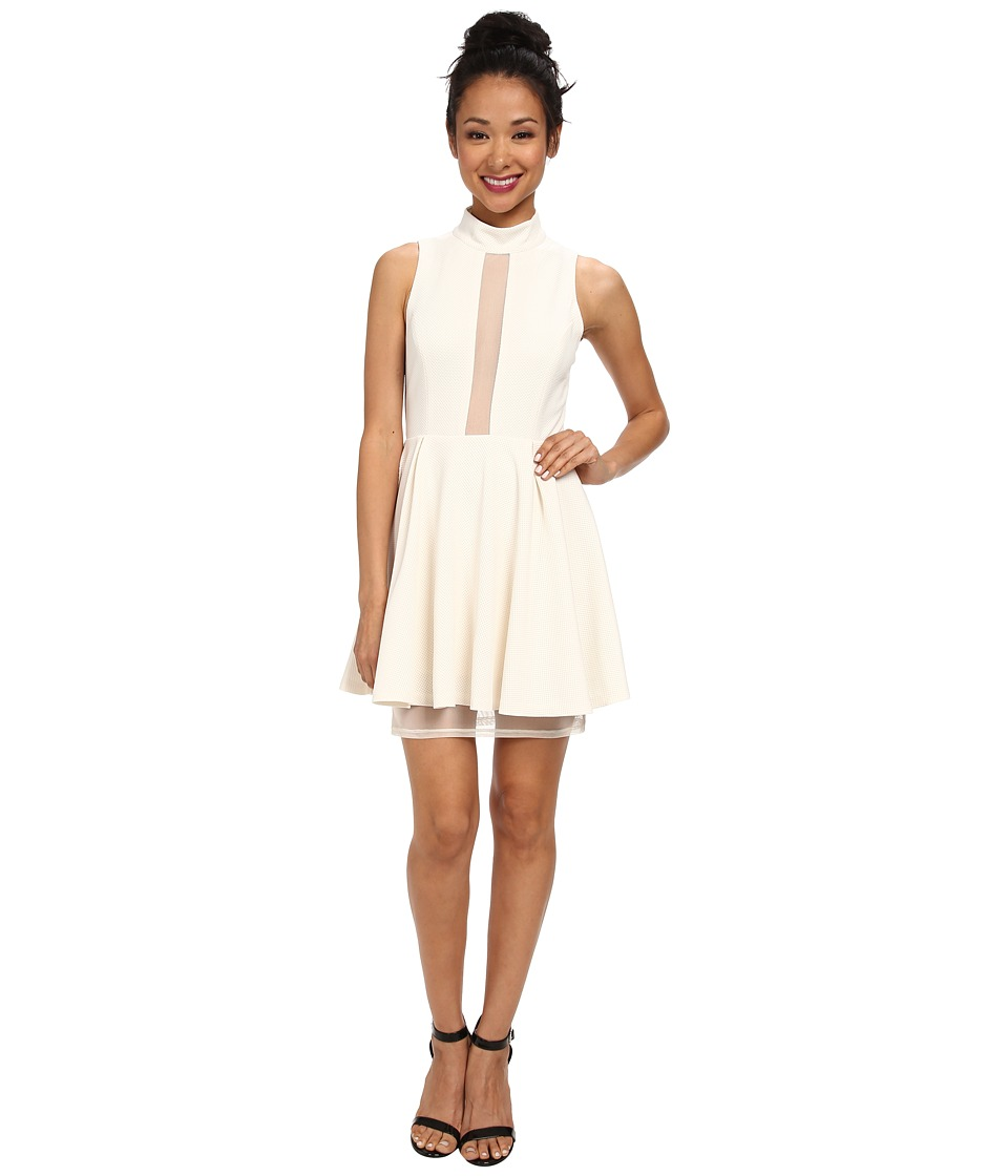 BCBGeneration - Mock Neck Dress with Mesh Contrast (Whisper White) Women