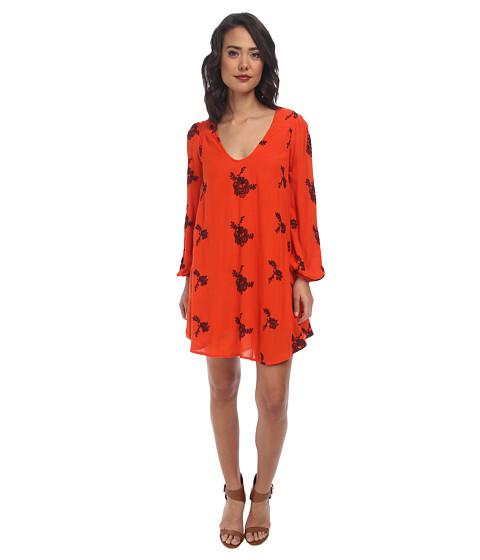 Free People - Rayon Gauze Emmas Dress (Blood Orange Combo) Women