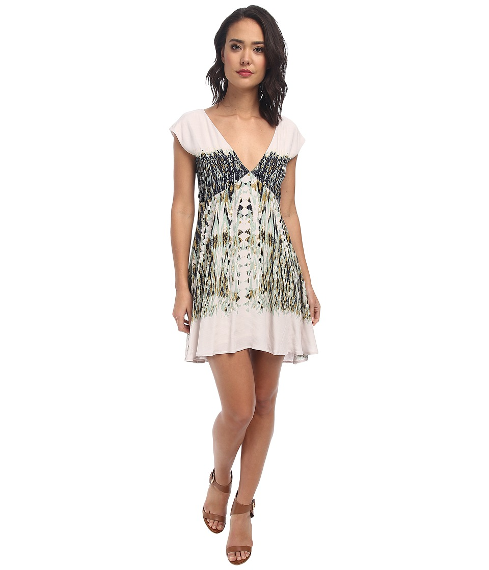 Free People - Printed Rayon Theodora Babydoll (Cloud Combo) Women's Dress