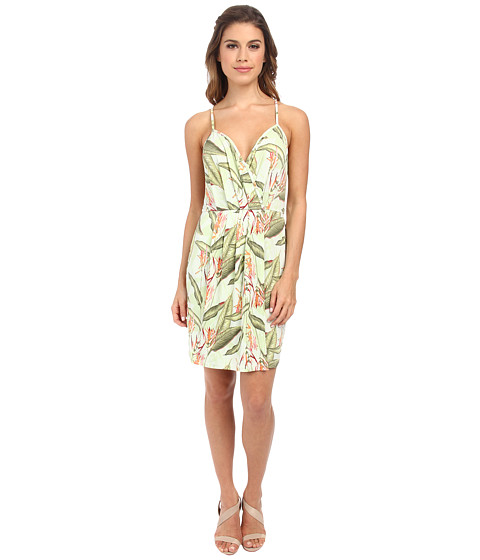 BCBGeneration - Cross Front Short Dress (Bright Lime Combo) Women
