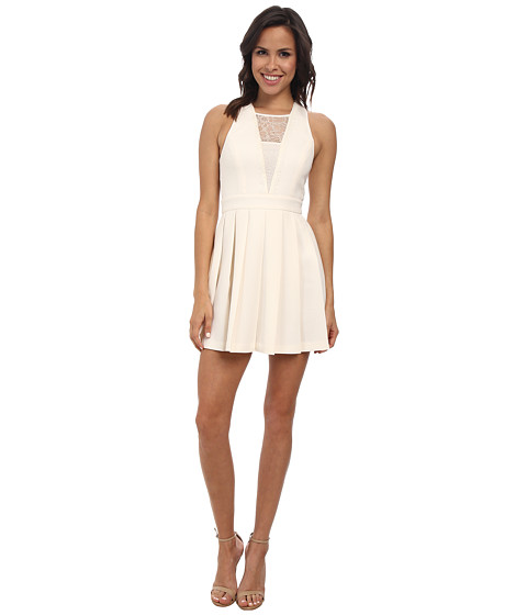 BCBGeneration - Dress with Deep Vee (Whisper White) Women