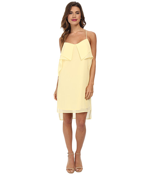 BCBGeneration - Flounce Front Dress (Pale Lemon) Women