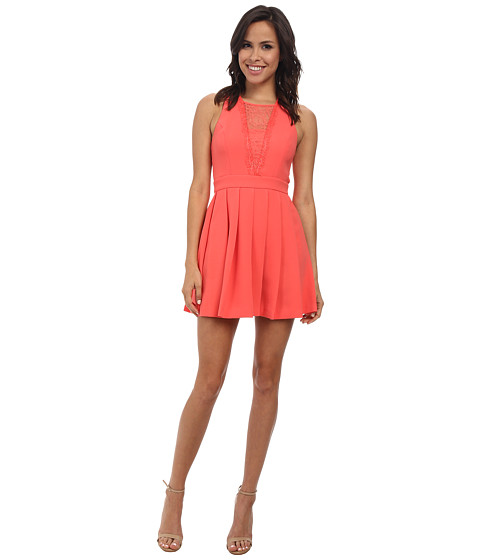 BCBGeneration - Dress with Deep Vee (Salmon Wine) Women's Dress