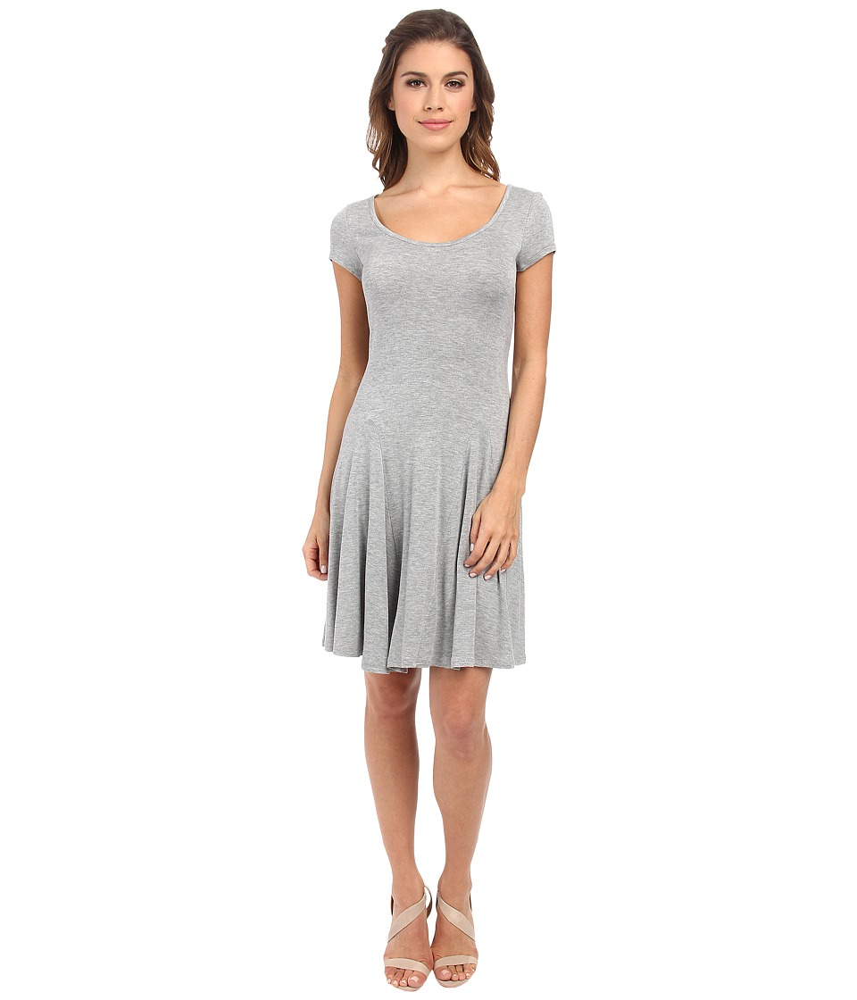 BCBGeneration - Fit and Flare Short Sleeve Dress (Heather Grey) Women's Dress