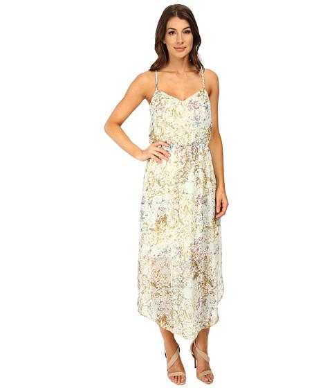 BCBGeneration - V-Neck Dress with Strap Detail (Whisper White Multi) Women