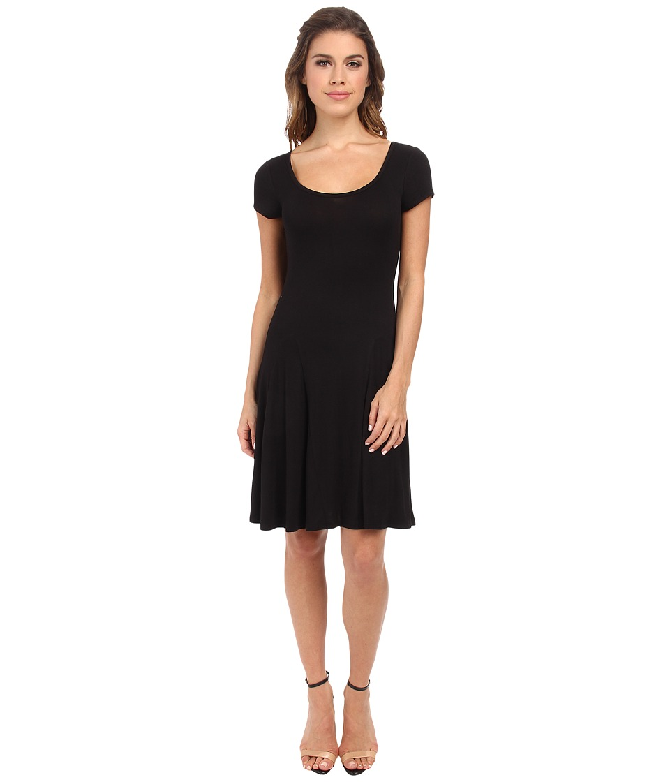 BCBGeneration - Fit and Flare Short Sleeve Dress (Black) Women's Dress