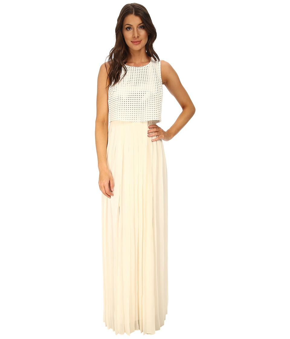 BCBGeneration - Pleated Dress with PU Body (Whisper White) Women's Dress