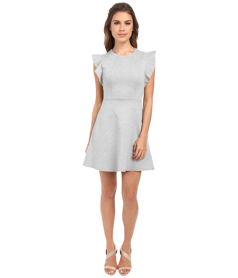 BCBGeneration - Ponte Flutter Sleeve Dress (Heather Grey) Women's Dress