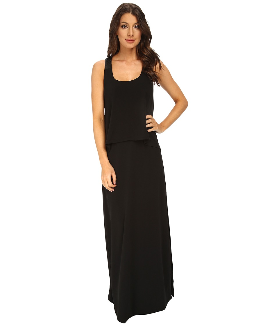 BCBGeneration - Maxi Dress with Contrast PU (Black) Women's Dress