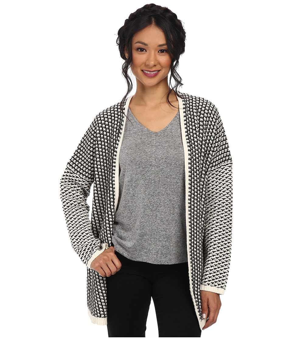 BCBGeneration - Novelty Open Stitch Front Cardigan (Whisper White Combo) Women's Sweater