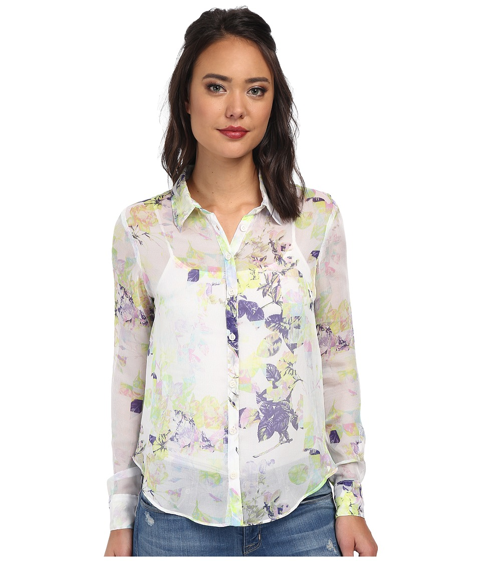 BCBGeneration - Uneven Hem Button Blouse (Whisper White Combo) Women's Blouse