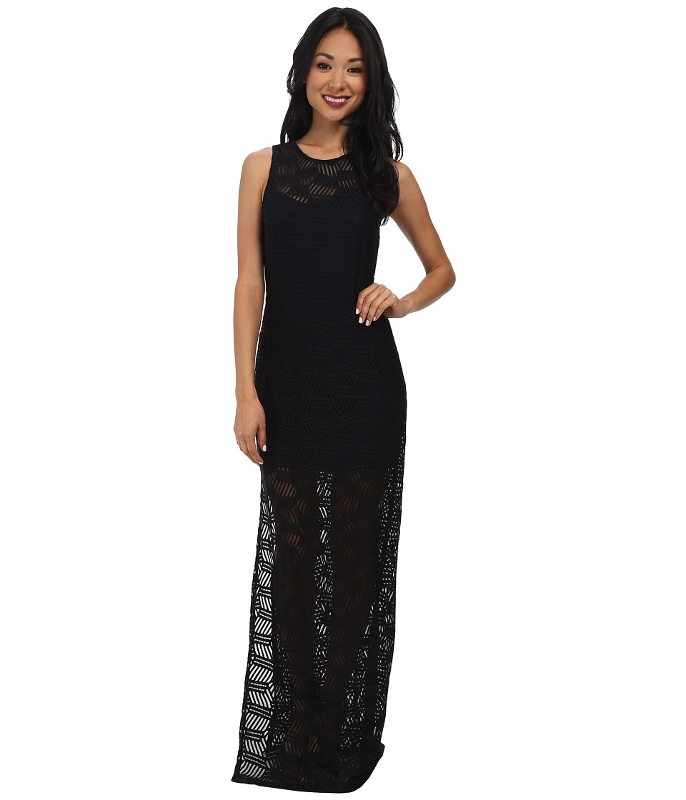 BCBGeneration - Lace Overlay Maxi (Black) Women's Dress