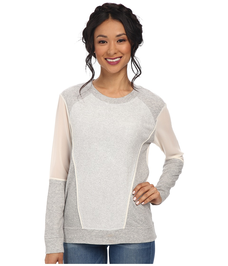 BCBGeneration - Contrast Panel Pullover (Heather Grey) Women's Long Sleeve Pullover