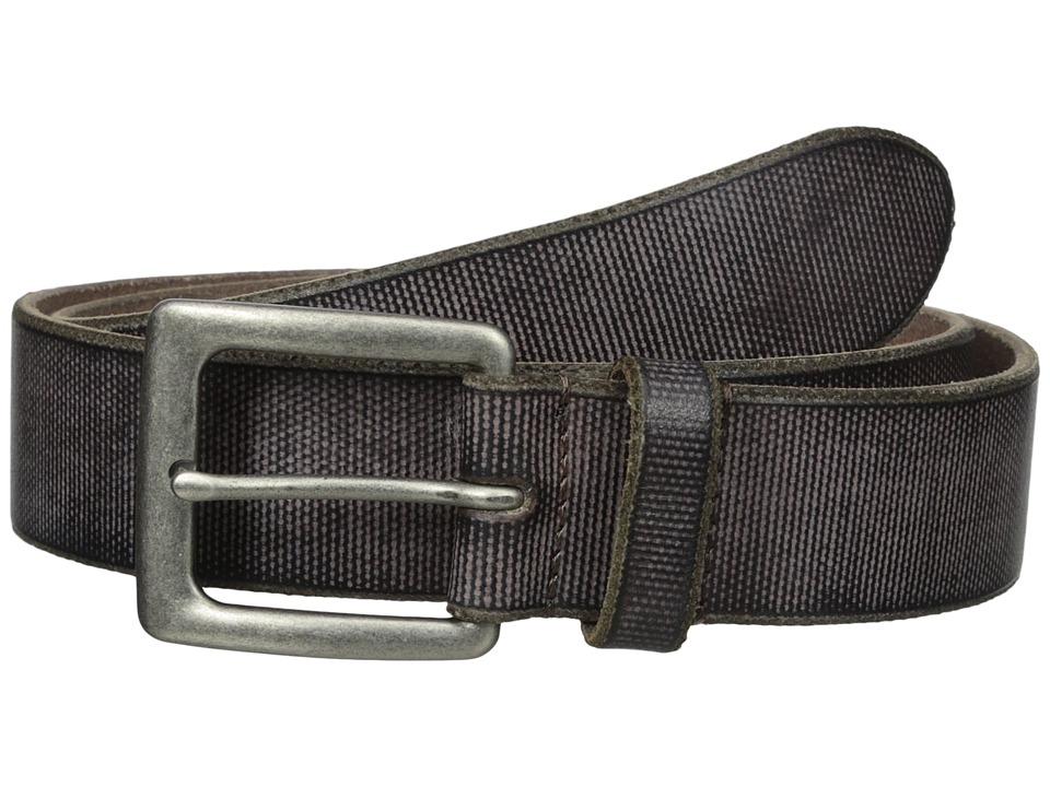 John Varvatos - 38mm Canvas Leather Harness Buckle (Chocolate) Men's Belts