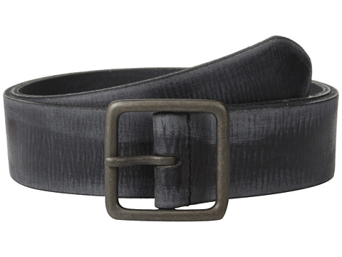 John Varvatos - 40mm Burnished Leather w/ Center Bar Buckle (Black) Men's Belts
