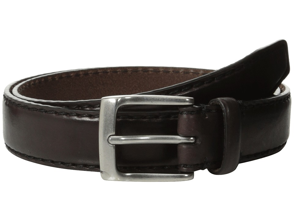 John Varvatos - 30mm Bombay Edge Stitch Brush Off Veg Buckle (Chocolate) Men