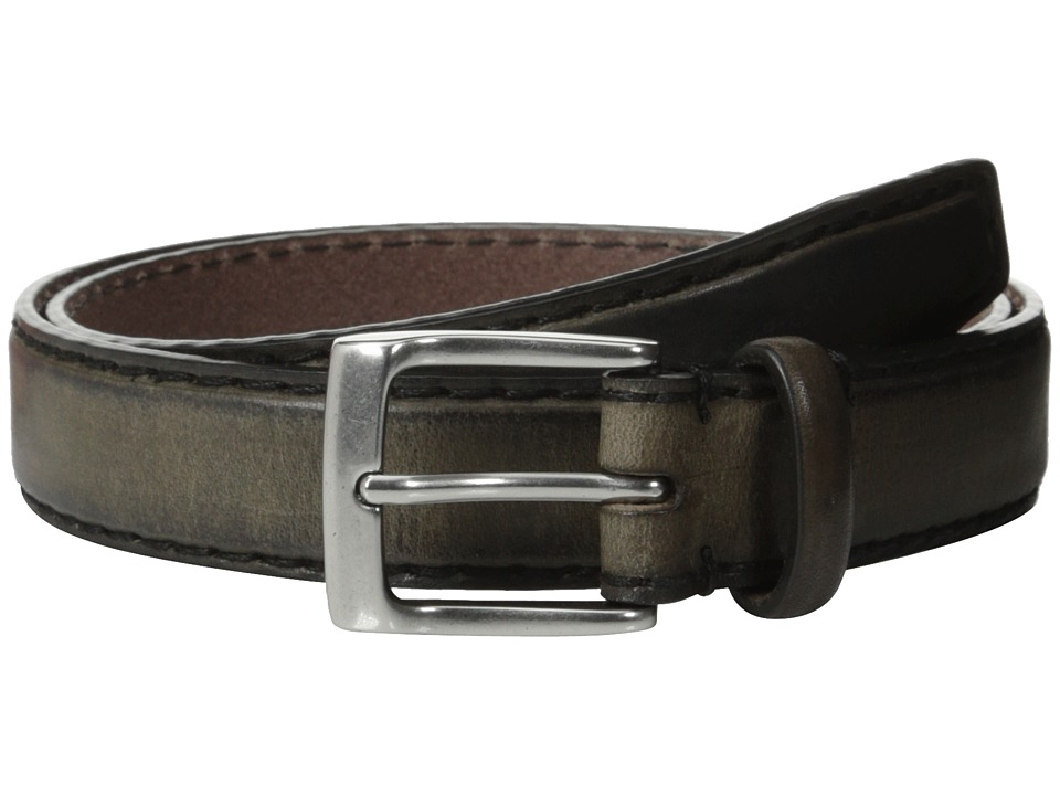 John Varvatos - 30mm Bombay Edge Stitch Brush Off Veg Buckle (Grey) Men's Belts