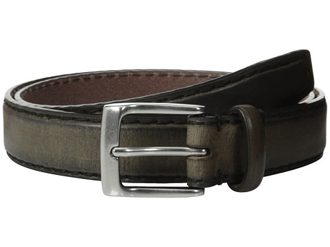 John Varvatos - 30mm Bombay Edge Stitch Brush Off Veg Buckle (Grey) Men