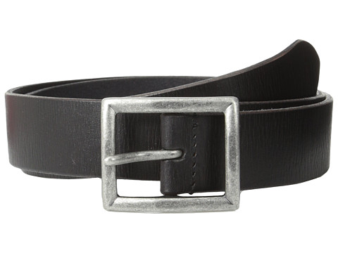 John Varvatos - 35mm Dress Leather w/ Center Bar Buckle (Black) Men's Belts