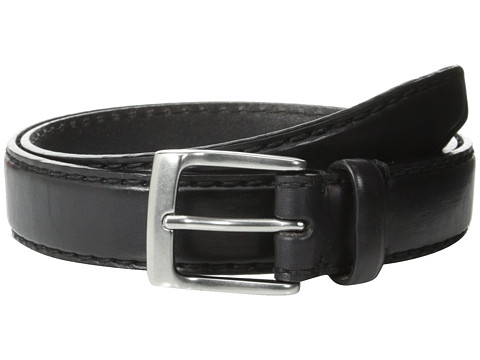 John Varvatos - 30mm Bombay Edge Stitch Brush Off Veg Buckle (Black) Men's Belts