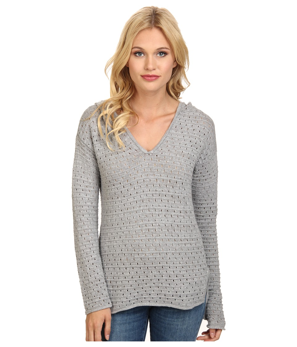 BCBGeneration - Pointelle Hooded Pullover (Heather Grey) Women