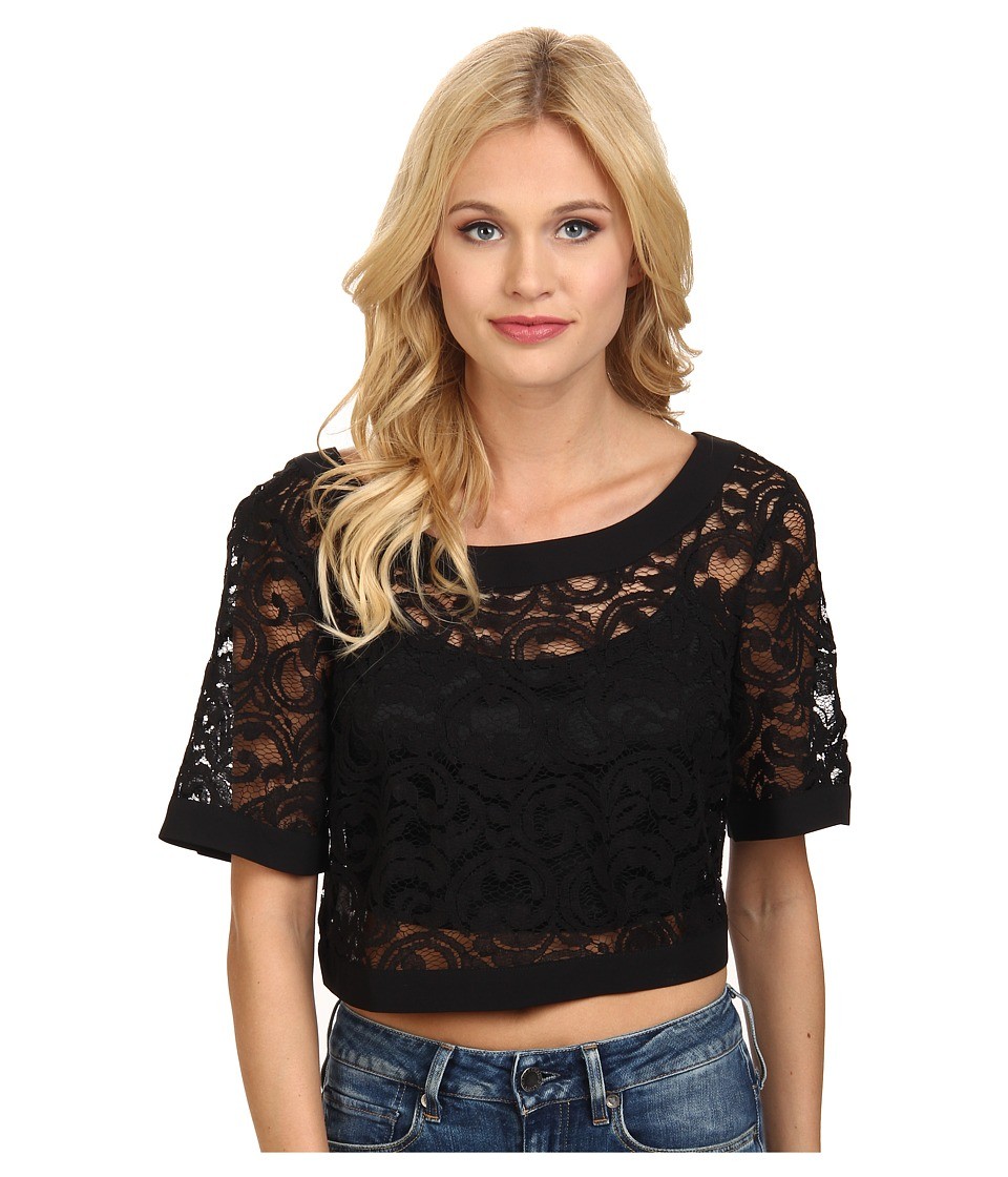 BCBGeneration - Wide Neck Crop Top (Black) Women's Clothing
