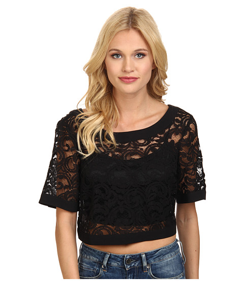 BCBGeneration - Wide Neck Crop Top (Black) Women