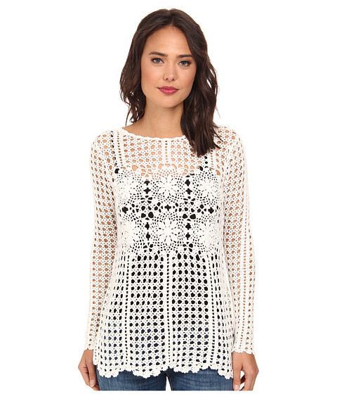Free People - Filet Crochet Pullover (Ivory Combo) Women
