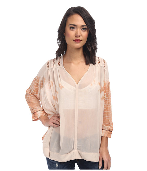 Free People - Tie-Dye Viscose Tie-Dye Me Down Top (Desert Orange Combo) Women's Blouse