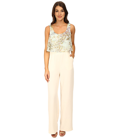 BCBGeneration - Ruffle Tank Wide Leg Jumpsuit (Whisper White Multi) Women's Jumpsuit & Rompers One Piece