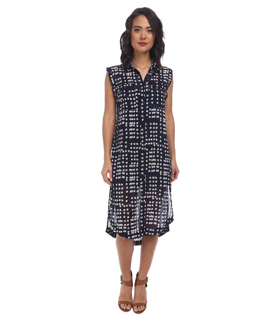 Free People - Printed Check Chiffon Mercer Street Maxi (Midnight Combo) Women's Dress