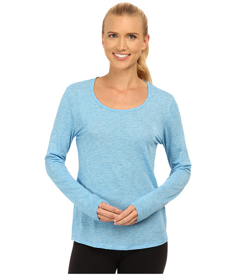 Lucy - L/S Workout Tee (Bright Blue Heather) Women's Workout