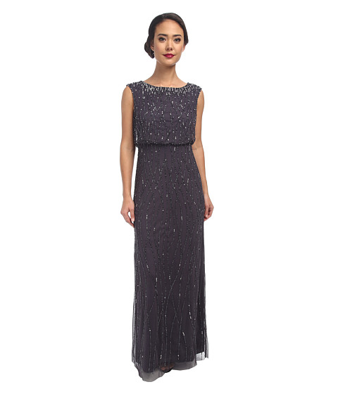 Adrianna Papell - Deco Vine Beaded Gown (Dark Grey) Women's Dress