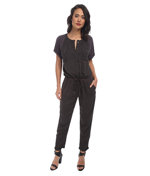 Free People - Raving Rayon Utility Romper (Washed Black) Women