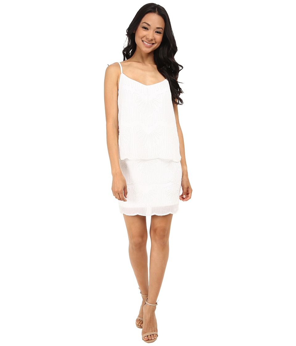 Laundry by Shelli Segal - Beaded Chiffon Pop Over Dress (Optic White) Women's Dress