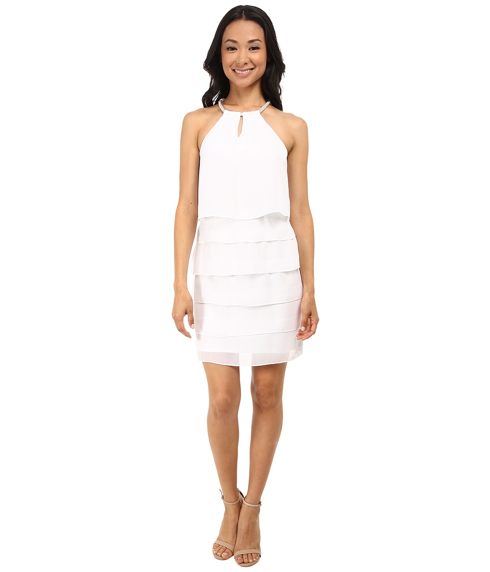 Laundry by Shelli Segal - Tiered Chiffon Cocktail Dress (Optic White) Women's Dress