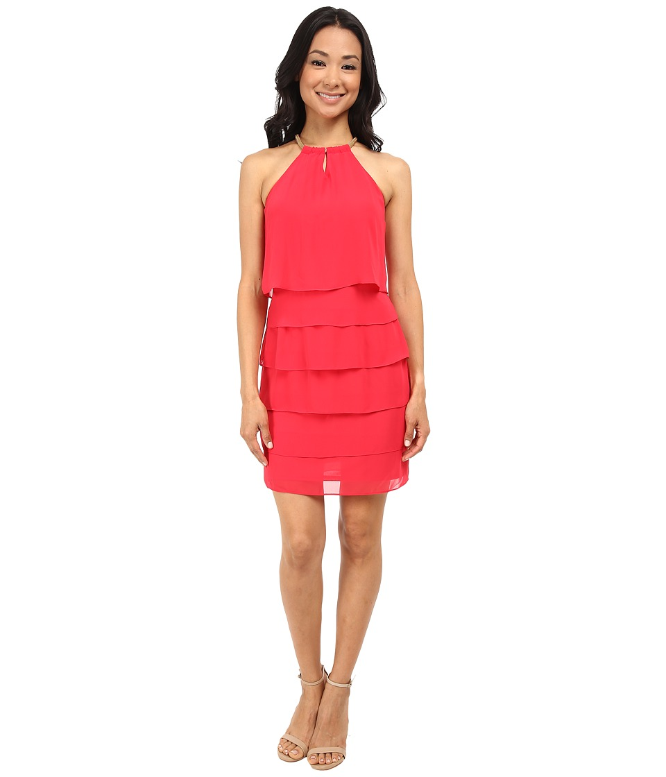 Laundry by Shelli Segal Tiered Chiffon Cocktail Dress (Barberry) Women