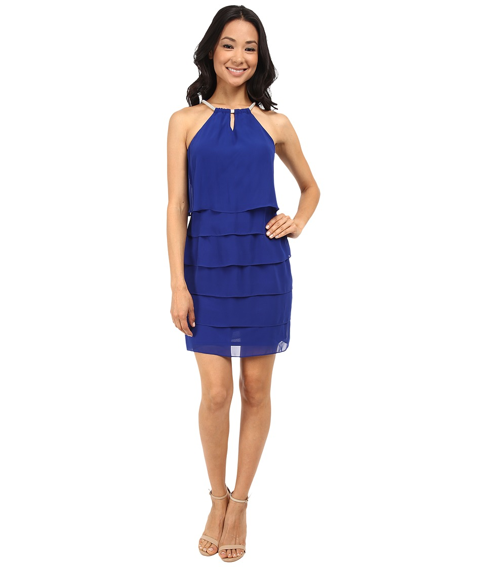 Laundry by Shelli Segal Tiered Chiffon Cocktail Dress (Blue Beret) Women