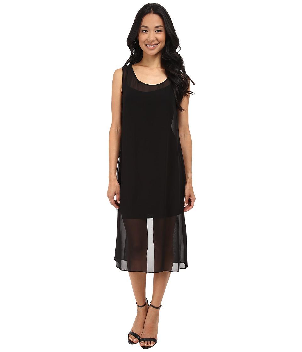 Laundry by Shelli Segal - Tank Dress with Chiffon Overlay (Black) Women's Dress