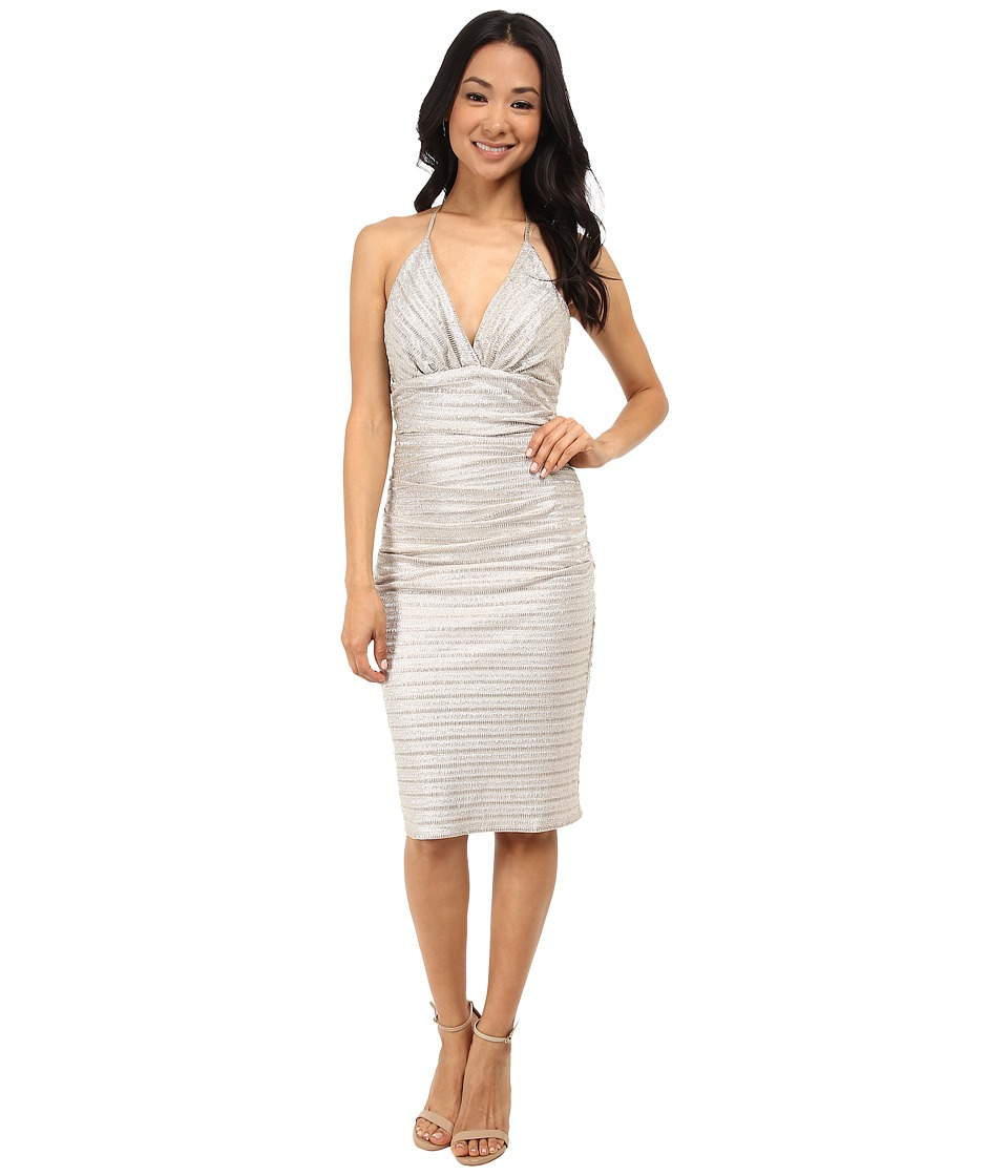 Laundry by Shelli Segal Chain Back Metallic Cocktail Dress (Gold/Silver) Women